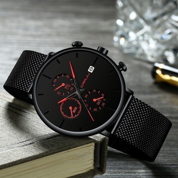 メンズ スポーツウォッチ CRRJU ユニークデザイン 多機能 腕時計 ビッグダイヤル 防水ステンレス鋼メッシュ 全5色_画像3