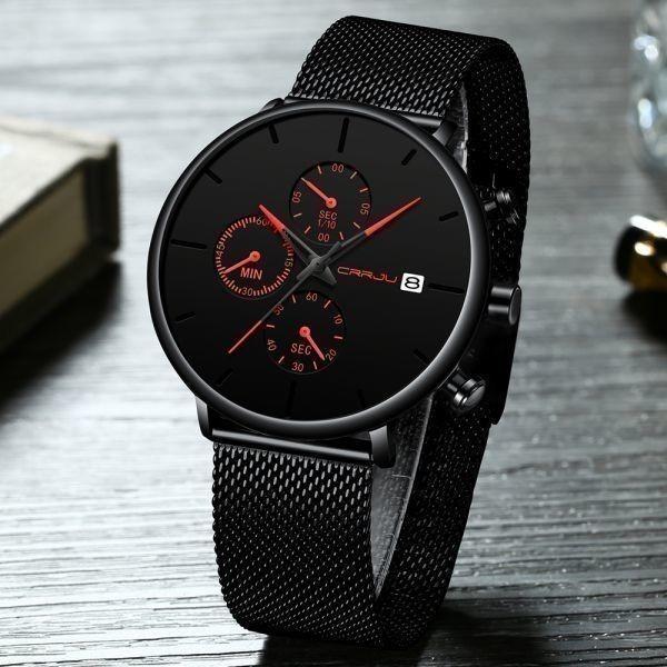 メンズ スポーツウォッチ CRRJU ユニークデザイン 多機能 腕時計 ビッグダイヤル 防水ステンレス鋼メッシュ 全5色_画像2