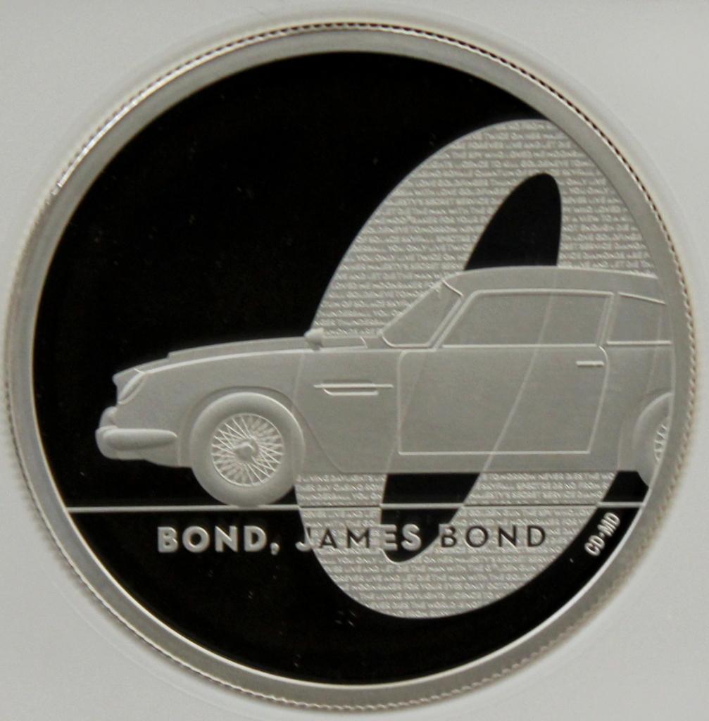2020 イギリス 007 ジェームズ ボンド 5ポンド 2オンス 銀貨 NGC PF70UC 最高鑑定品!!_画像1