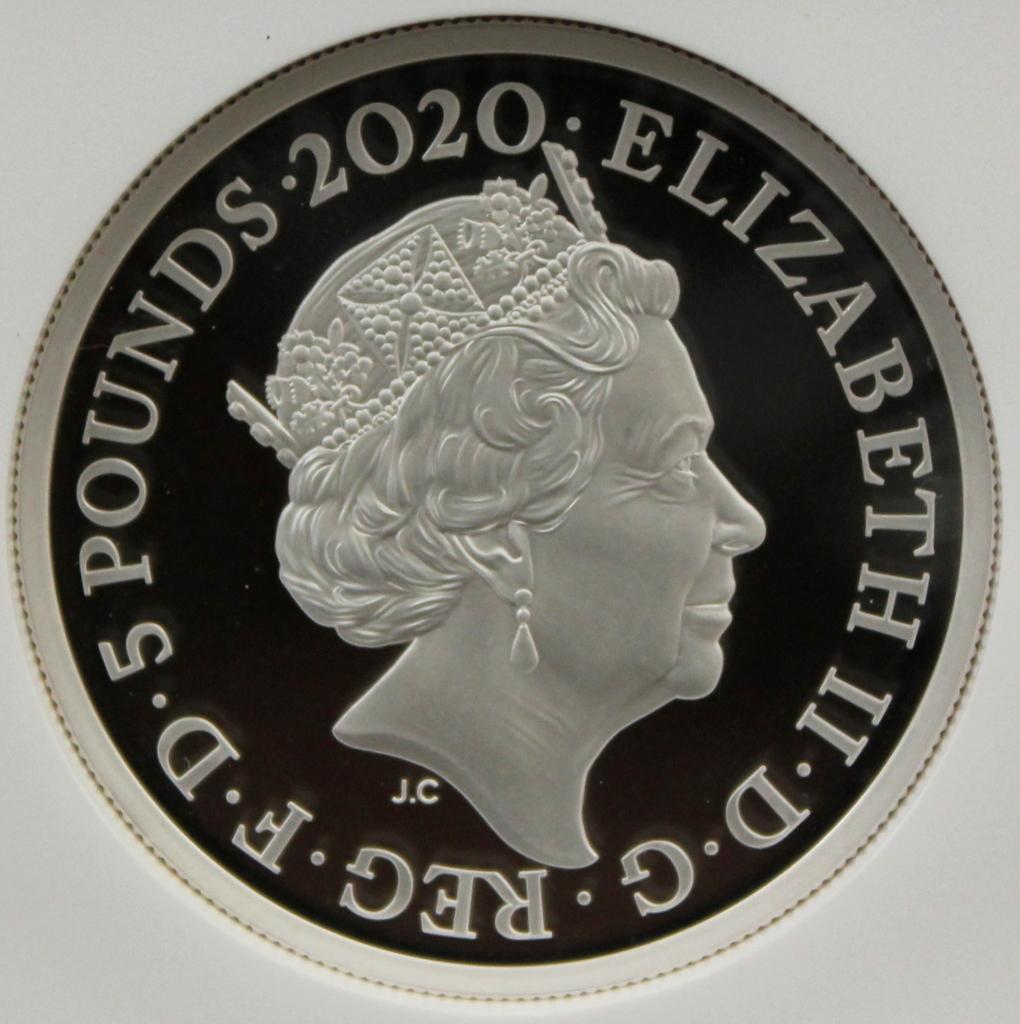 2020 イギリス 007 ジェームズ ボンド 5ポンド 2オンス 銀貨 NGC PF70UC 最高鑑定品!!_画像2