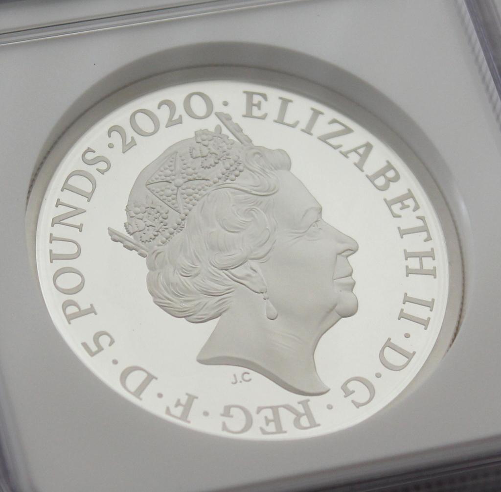 2020 イギリス 007 ジェームズ ボンド 5ポンド 2オンス 銀貨 NGC PF70UC 最高鑑定品!!_画像7