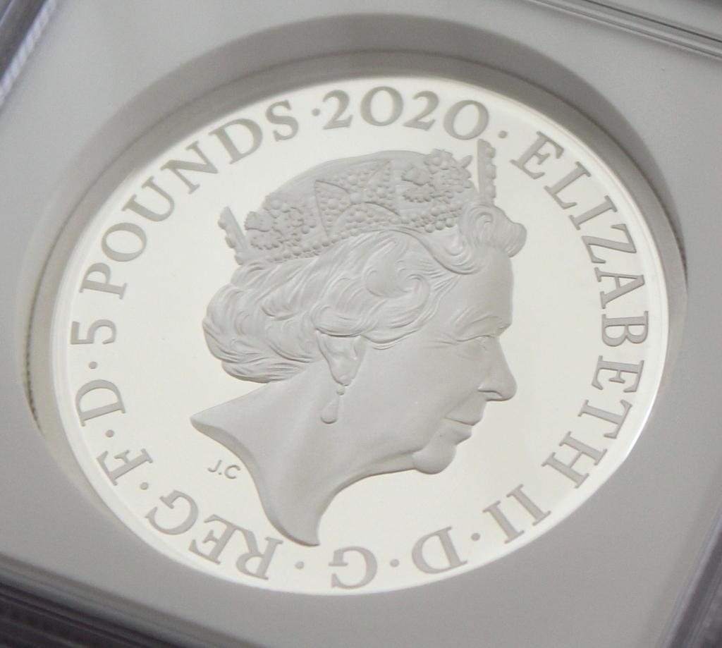 2020 イギリス 007 ジェームズ ボンド 5ポンド 2オンス 銀貨 NGC PF70UC 最高鑑定品!!_画像6