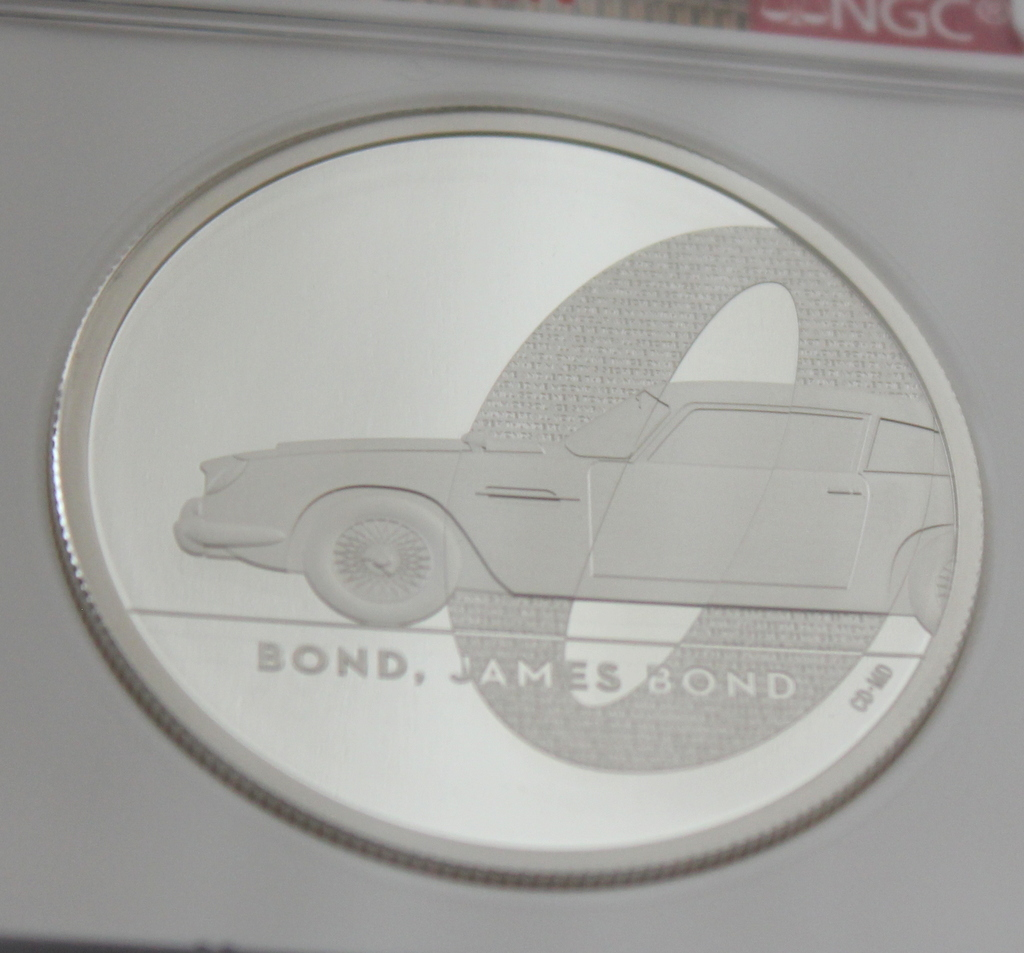 2020 イギリス 007 ジェームズ ボンド 5ポンド 2オンス 銀貨 NGC PF70UC 最高鑑定品!!_画像5