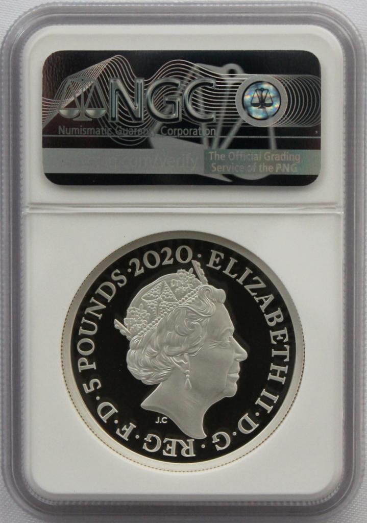 2020 イギリス 007 ジェームズ ボンド 5ポンド 2オンス 銀貨 NGC PF70UC 最高鑑定品!!_画像9