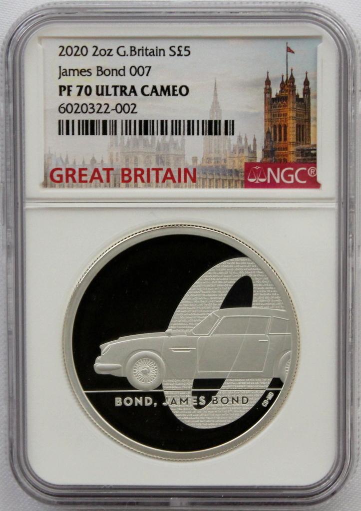 2020 イギリス 007 ジェームズ ボンド 5ポンド 2オンス 銀貨 NGC PF70UC 最高鑑定品!!_画像8