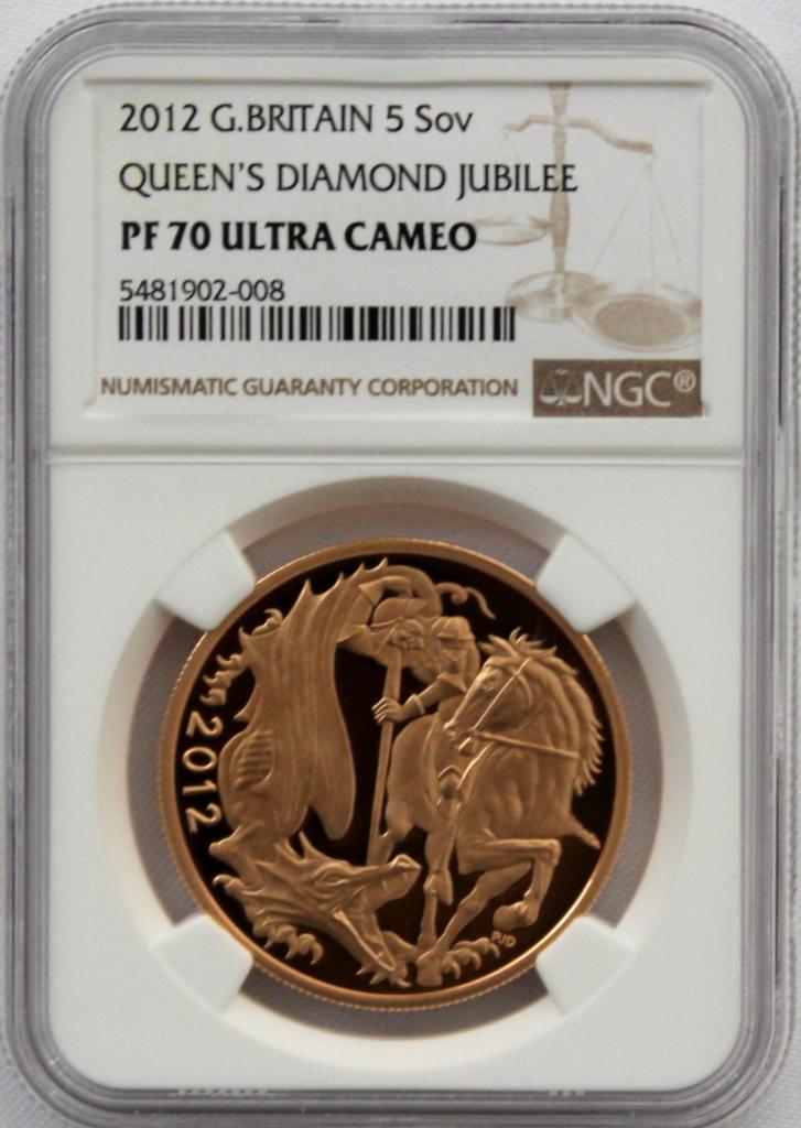 2012 イギリス ダイヤモンドジュビリー戴冠60周年記念 5ポンド 金貨 NGC PF70UC 最高鑑定品!!_画像9