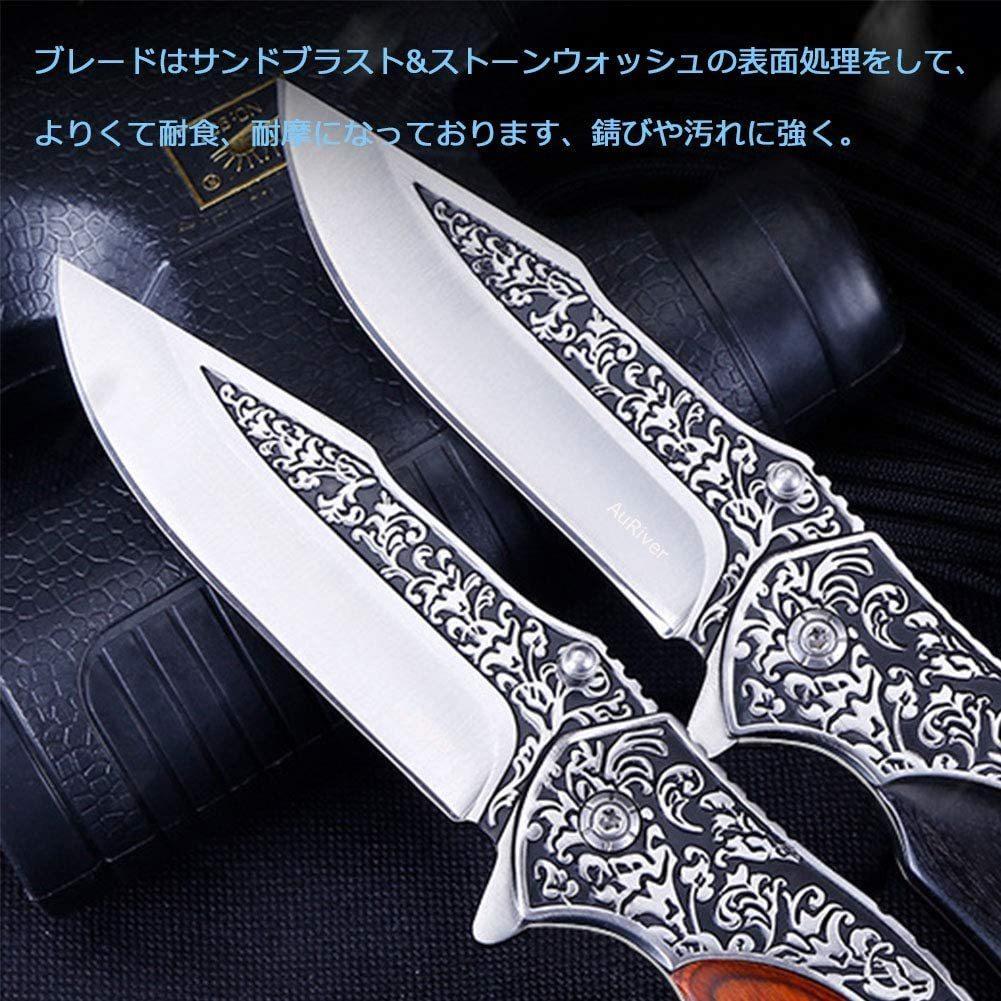 【新品 送料無料】アウトドアナイフ折りたたみナイフ キャンプ ナイフ フォールディングナイフ 安全ロック設置 褐色