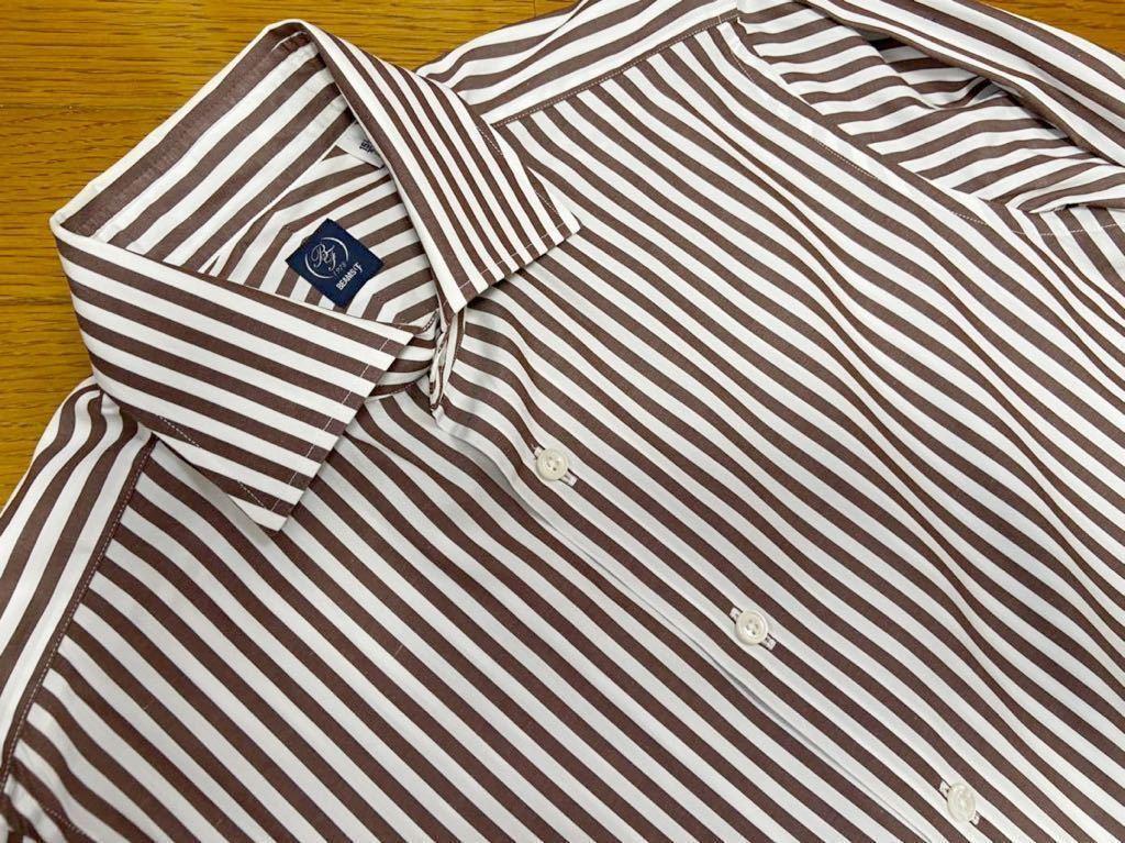 BEAMS F ビームスエフ ブラウン ストライプ ドレスシャツ slimfit 日本製 made in japan