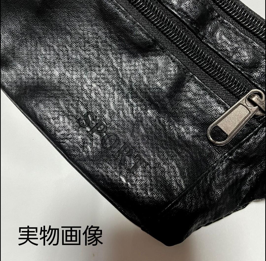 ボディ バッグ ショルダー 軽量 コンパクト サコッシュ 黒 レザー メンズ ウエストバッグ ボディバッグ 最終お値下げ!