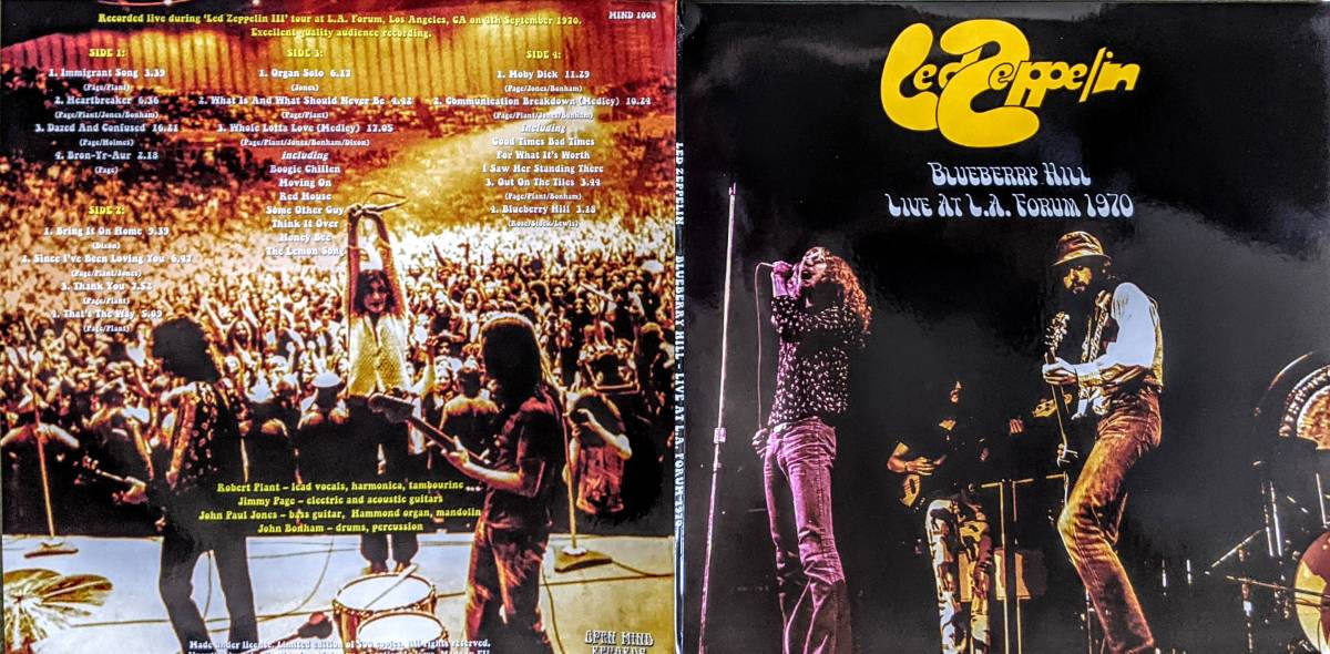Led Zeppelin レッド・ツェッペリン - Blueberry Hill - Live At L.A. Forum 1970 限定二枚組アナログ・レコード