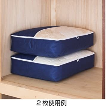 新品ネイビー アストロ 羽毛布団 収納袋 シングル用 ネイビー 不織布 コンパクト 優しく圧縮 131-28L0BH_画像6