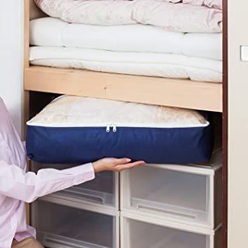 新品ネイビー アストロ 羽毛布団 収納袋 シングル用 ネイビー 不織布 コンパクト 優しく圧縮 131-28L0BH_画像4