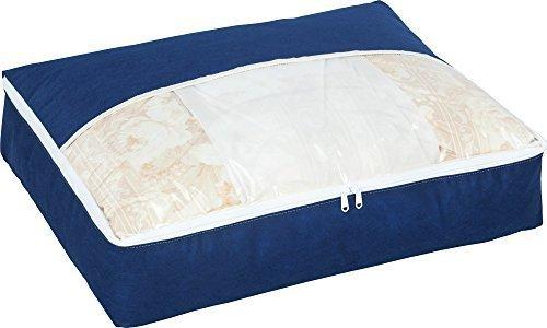 新品ネイビー アストロ 羽毛布団 収納袋 シングル用 ネイビー 不織布 コンパクト 優しく圧縮 131-28L0BH_画像1