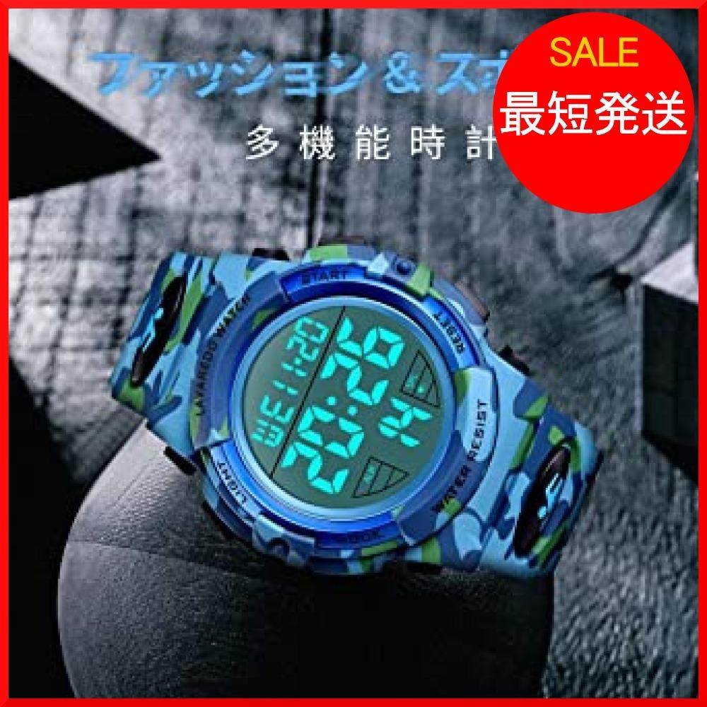【在庫限り】 ブルー スポーツ デジタル 50メートル防水 おしゃれ メンズ T3PTU 多機能 腕時計 LED表示 アウトドア_画像5