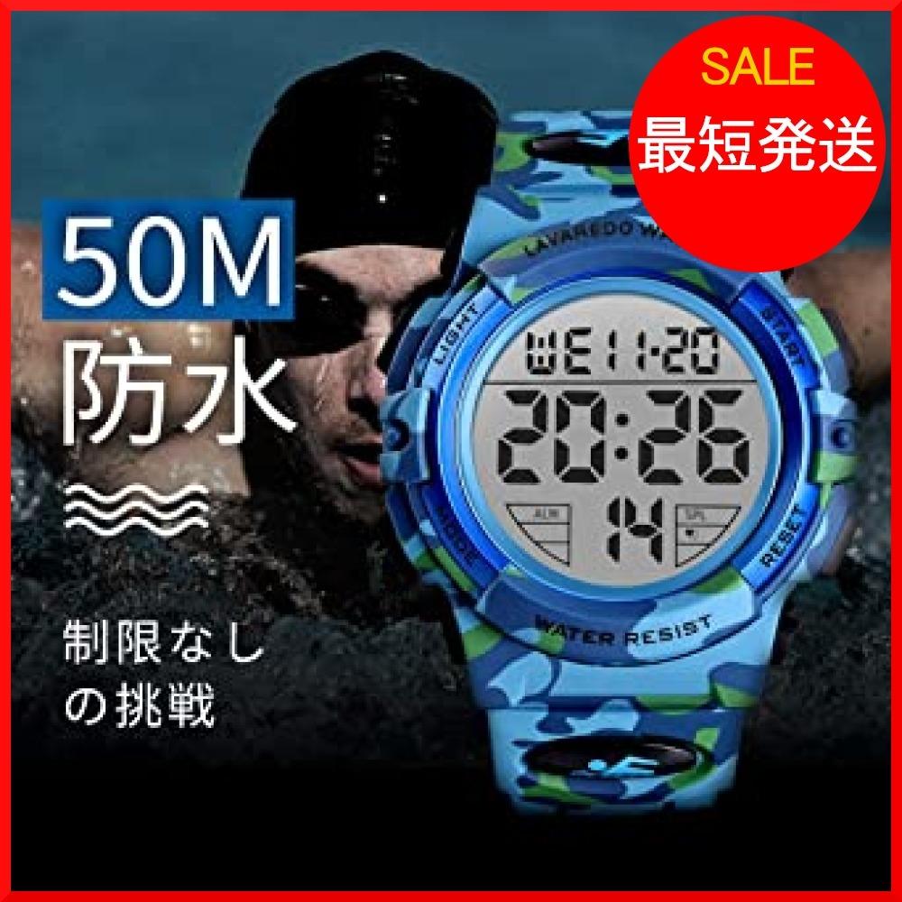 【在庫限り】 ブルー スポーツ デジタル 50メートル防水 おしゃれ メンズ T3PTU 多機能 腕時計 LED表示 アウトドア_画像6