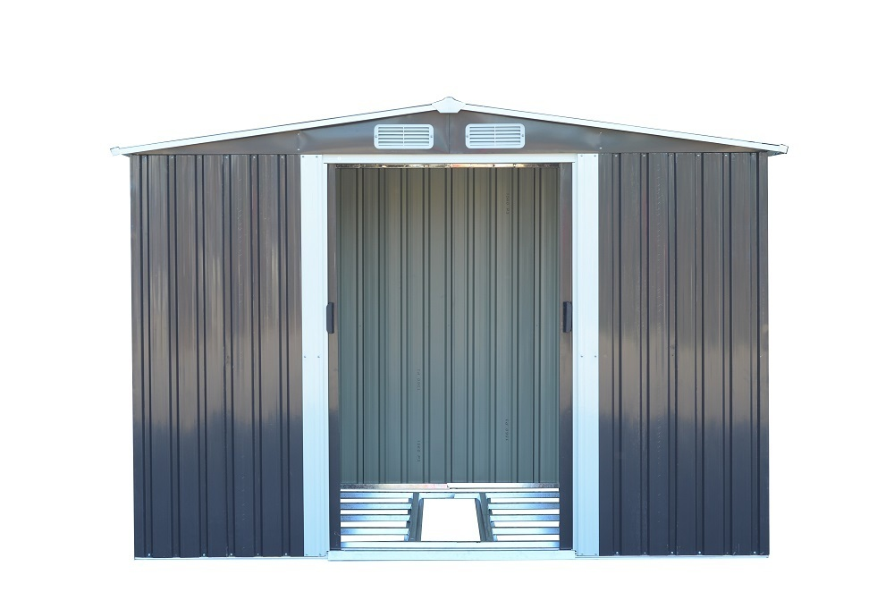 【即納】 GRESS ヨーロッパ風物置 メタルシェッド 物置小屋 倉庫 収納庫 8x6フィート チャコールカラー_画像4
