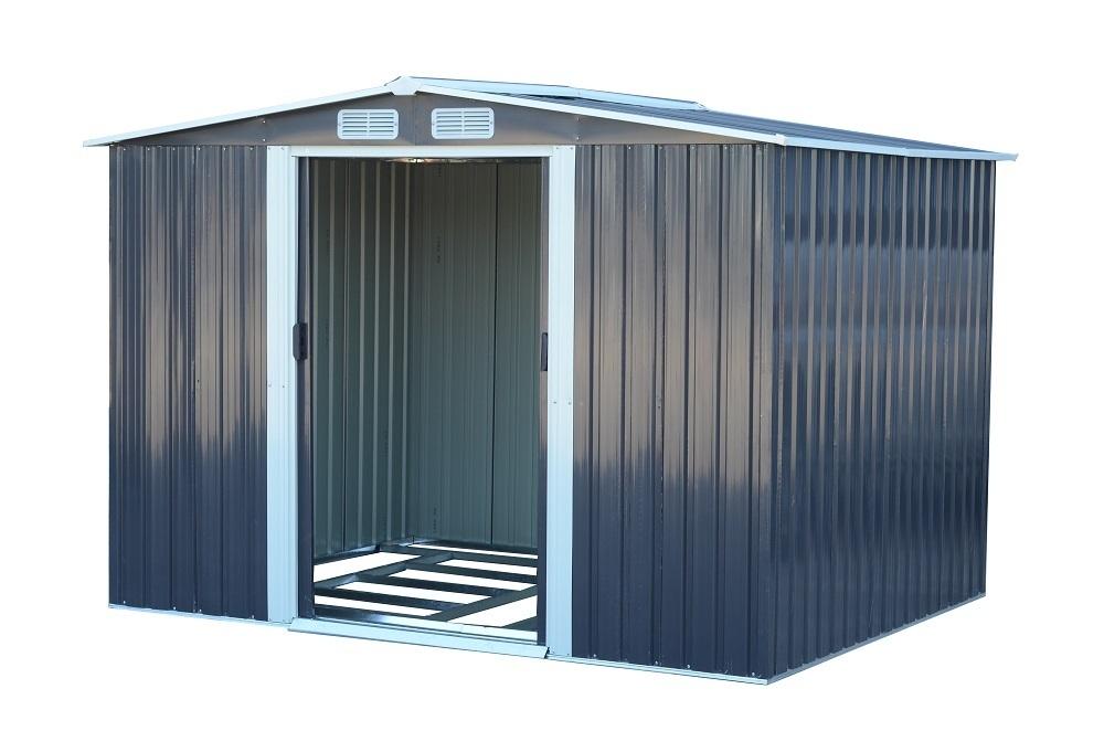 【即納】 GRESS ヨーロッパ風物置 メタルシェッド 物置小屋 倉庫 収納庫 8x6フィート チャコールカラー_画像3