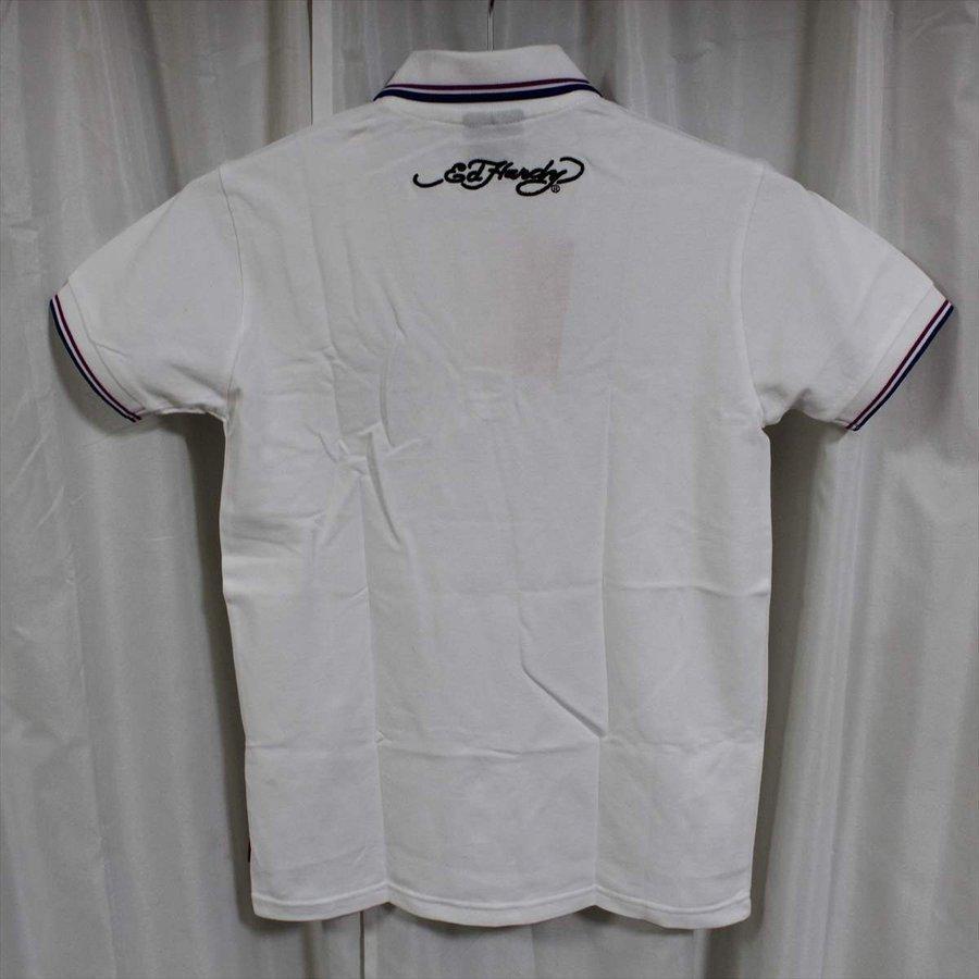 エドハーディー ED HARDY メンズ半袖ポロシャツ ホワイト Mサイズ EDPL005 新品 白_画像4