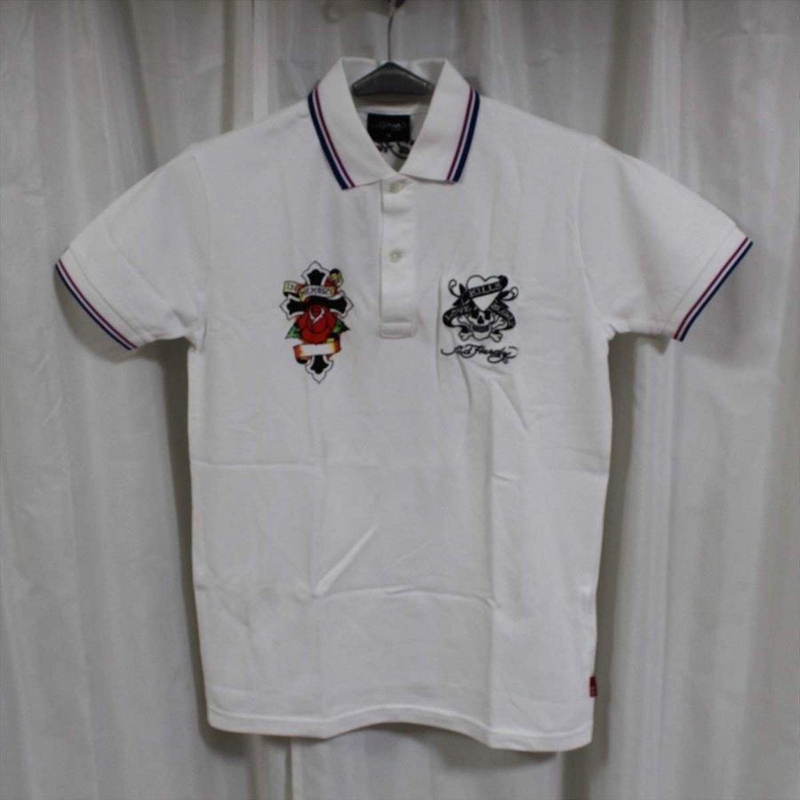 エドハーディー ED HARDY メンズ半袖ポロシャツ ホワイト Mサイズ EDPL005 新品 白_画像1