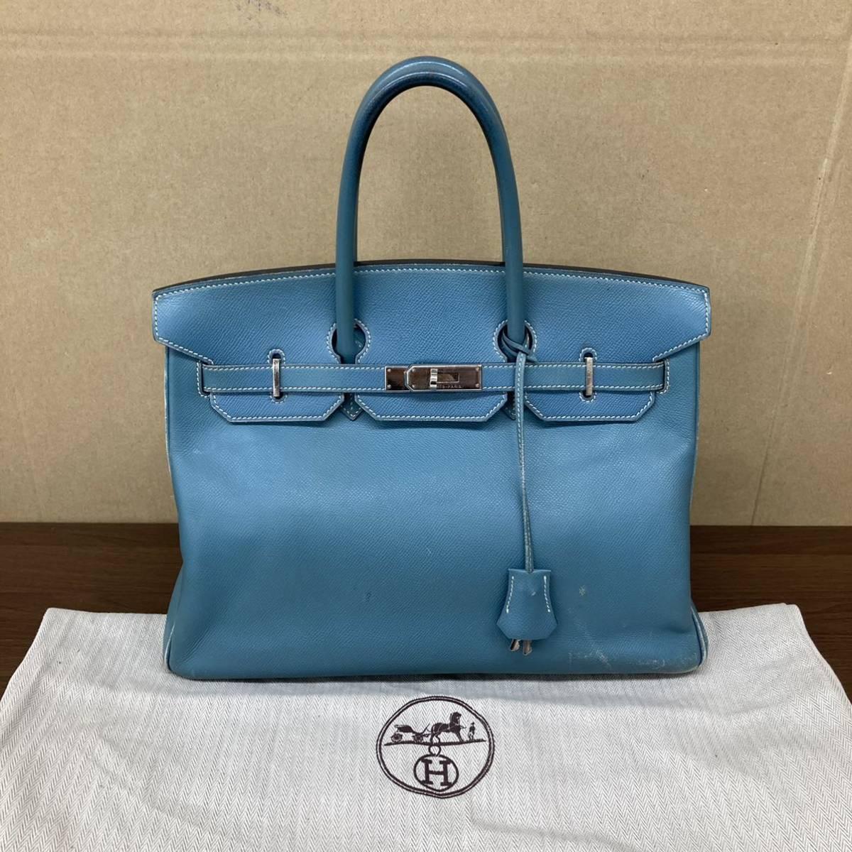 ★1円スタート★HERMES エルメス バーキン35 ハンドバッグ 手提げ ブルー 水色 シルバー