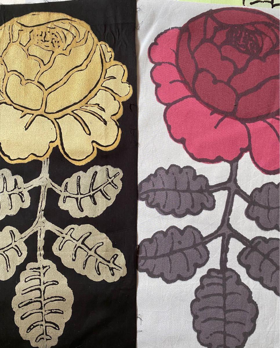 Marimekkoマーライスルース 大きい 薔薇 緑 ピンク グレー ブラック ゴールド ローズ  はぎれ マリメッコ