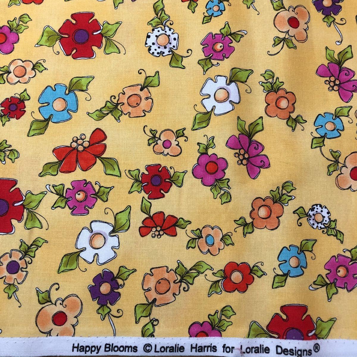 ロラライハリス生地 Happy  Blooms  イエロー生地