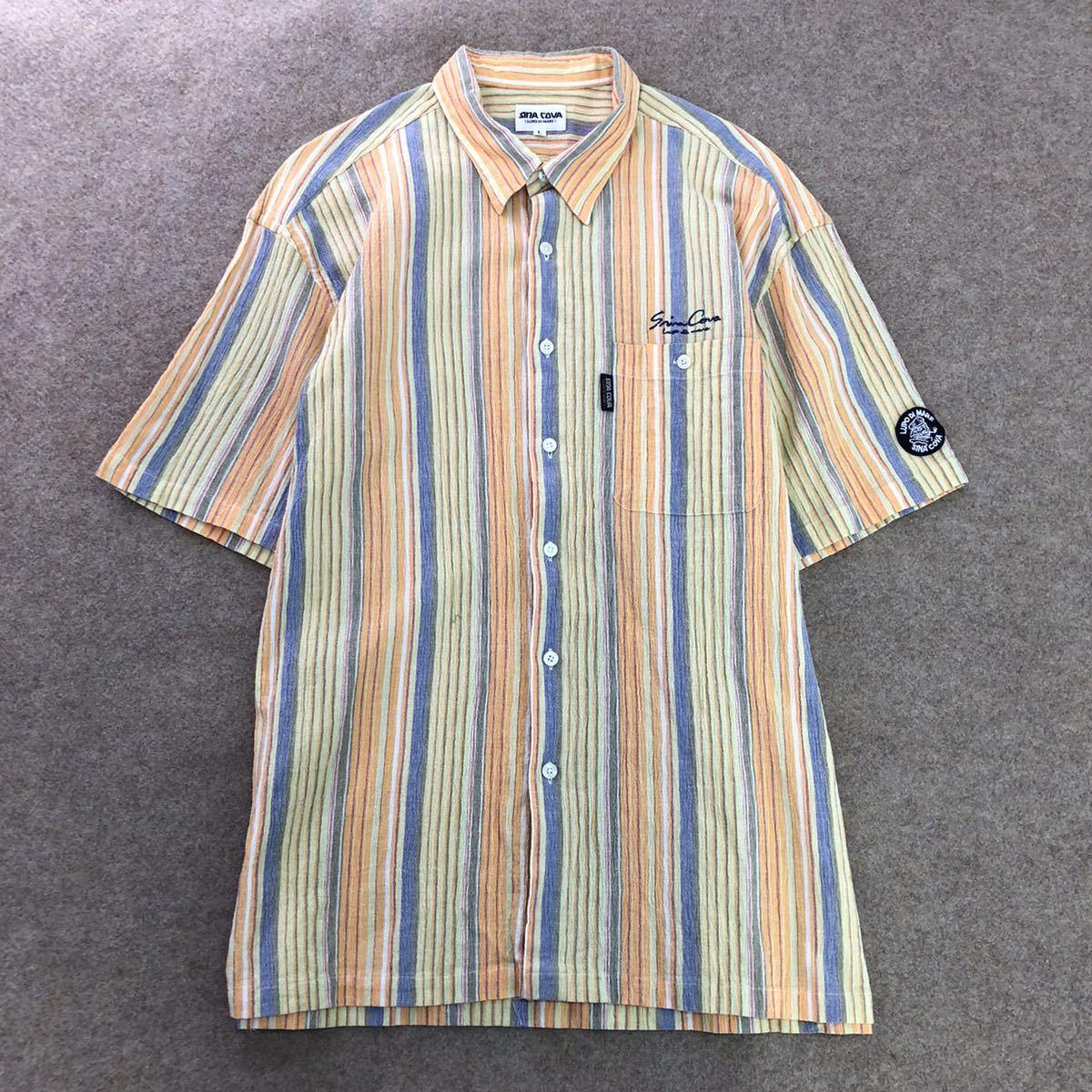 Eg19《美品》SINA COVA〈LUPO DI MARE〉シナコバ 半袖シャツ ストライプシャツ コットン100% マルチカラー sizeL メンズ 紳士服
