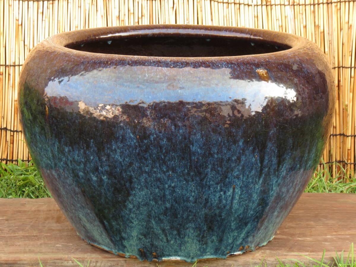 大火鉢 直径64㎝ 重量31㎏ めだか鉢 海鼠釉 中国