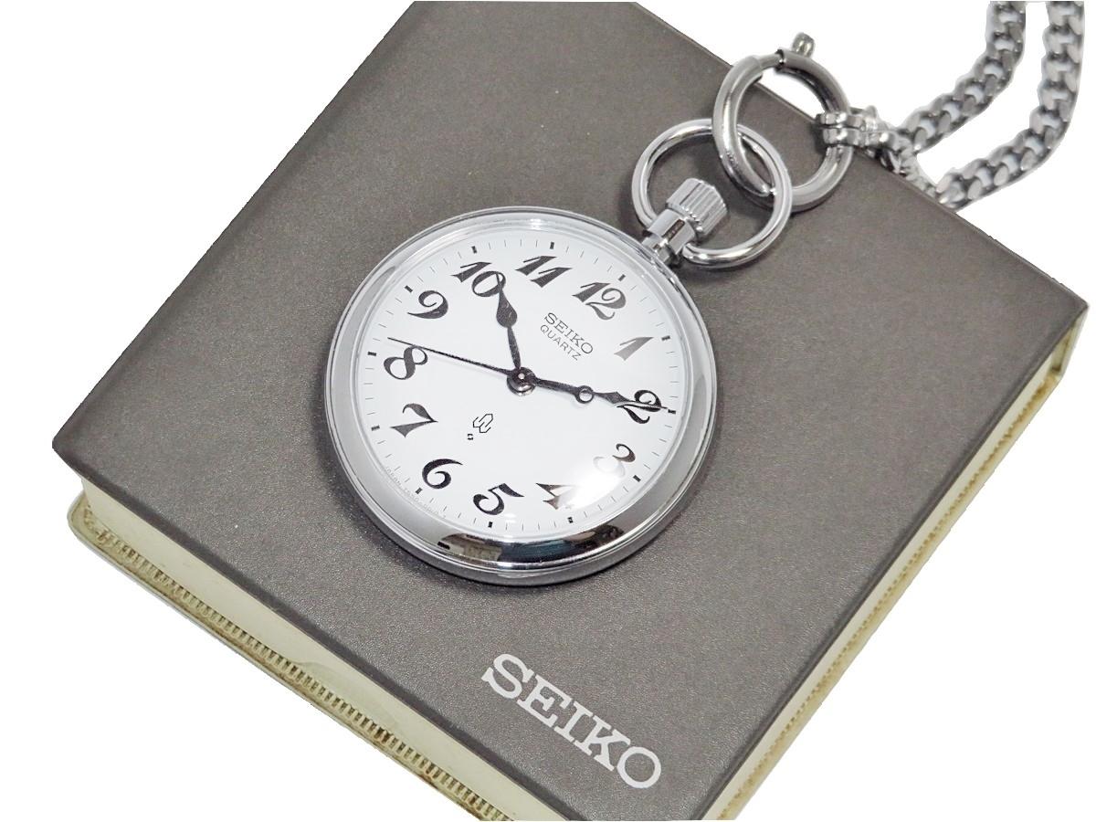 【比較的美品】SEIKO QUARTZ セイコー クォーツ 懐中時計 鉄道時計 7550-001D 白文字盤 シルバー 動輪マーク入り 説明書 ケース付き FCZI76