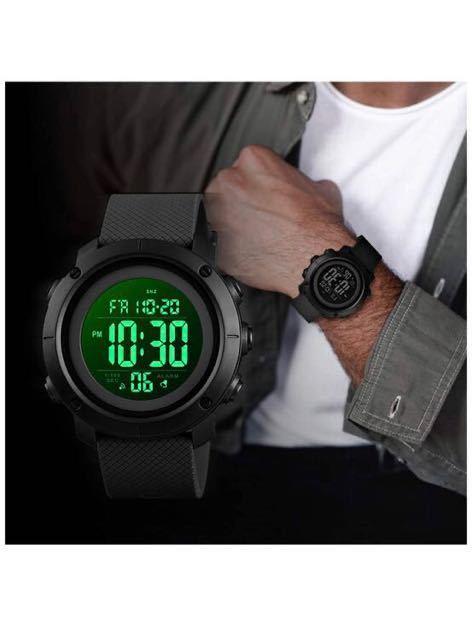 腕時計 メンズ デジタル スポーツ 50メートル防水 おしゃれ 多機能 LED表示 アウトドア 腕時計_画像2