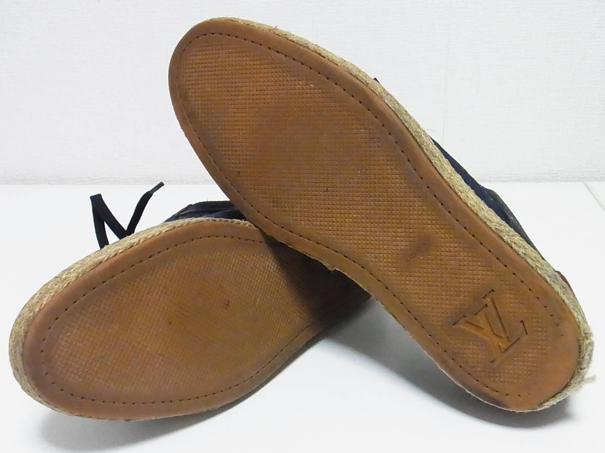 高級 LOUIS VUITTON ルイヴィトン LVロゴ デニム エスパドリーユ スニーカー サイズ8.5 靴_画像6