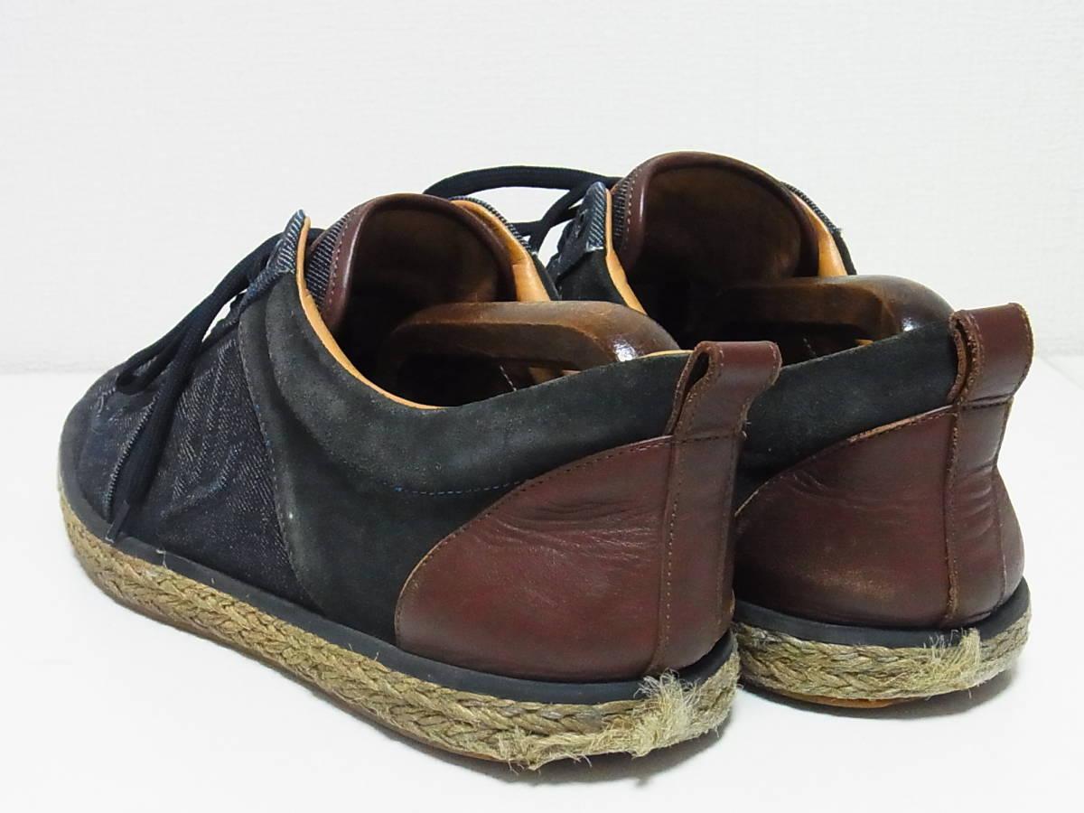高級 LOUIS VUITTON ルイヴィトン LVロゴ デニム エスパドリーユ スニーカー サイズ8.5 靴_画像3