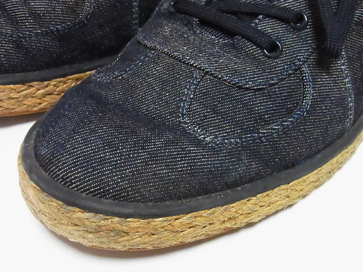 高級 LOUIS VUITTON ルイヴィトン LVロゴ デニム エスパドリーユ スニーカー サイズ8.5 靴_画像4
