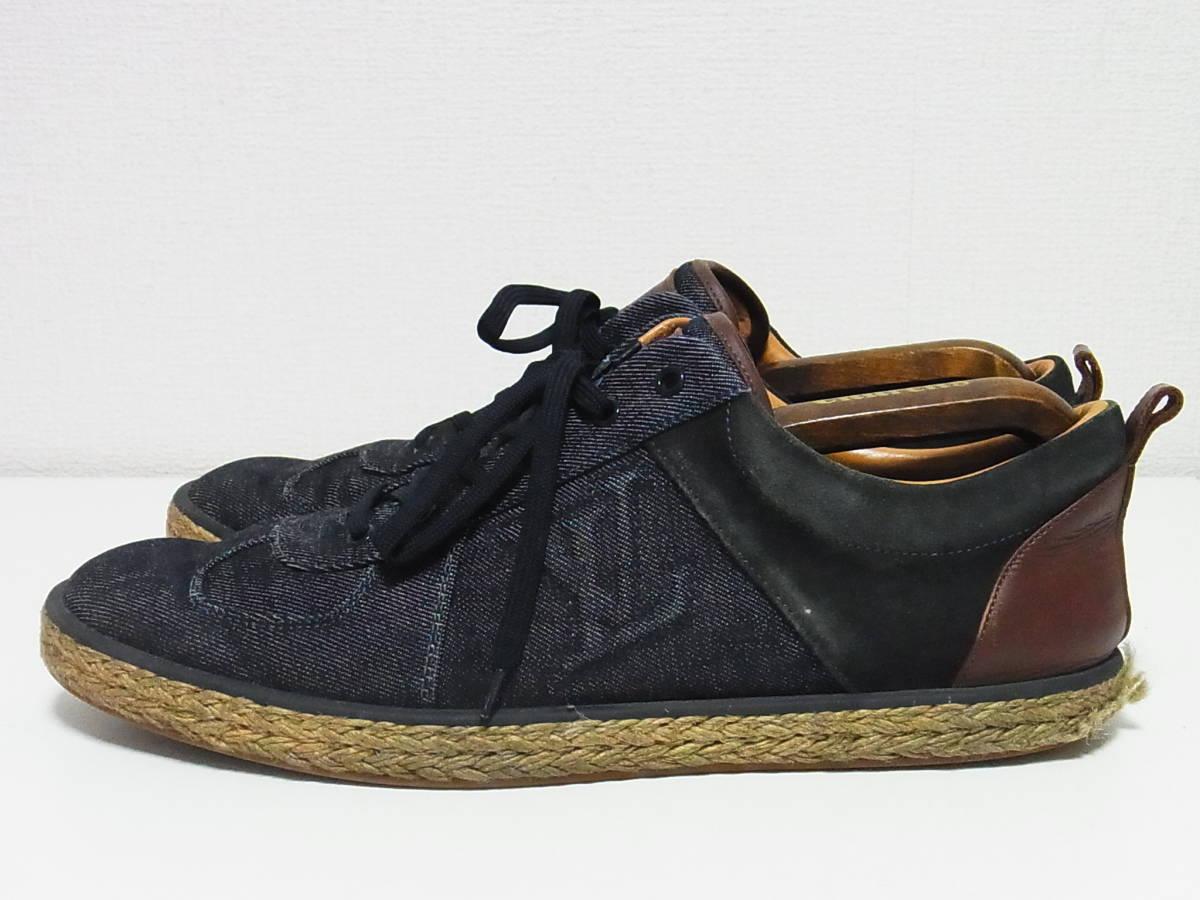 高級 LOUIS VUITTON ルイヴィトン LVロゴ デニム エスパドリーユ スニーカー サイズ8.5 靴_画像2
