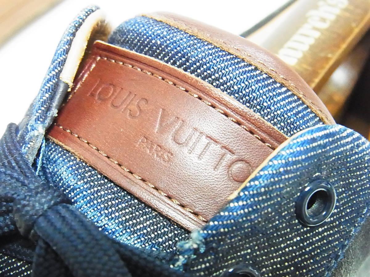 高級 LOUIS VUITTON ルイヴィトン LVロゴ デニム エスパドリーユ スニーカー サイズ8.5 靴_画像7