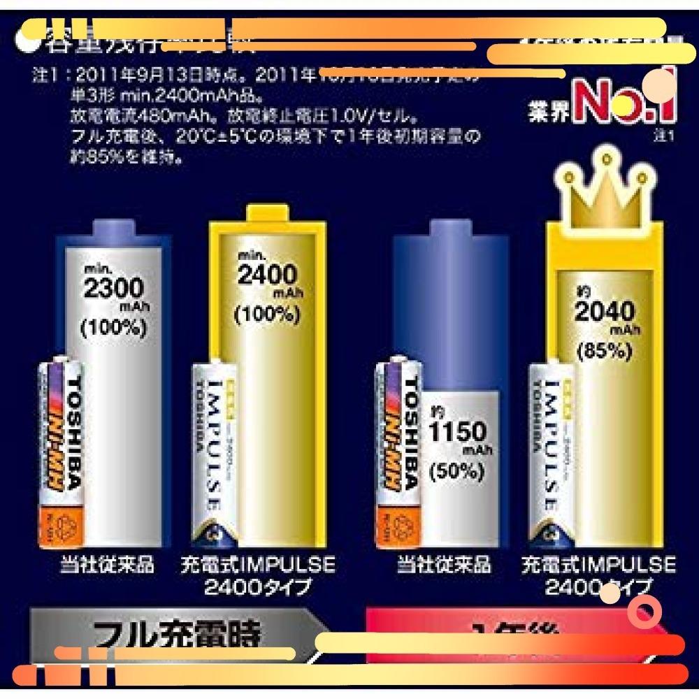 ▼▼TOSHIBA ニッケル水素電池 充電式IMPULSE 高容量タイプ 単3形充電池(min.2400mAh)_画像4