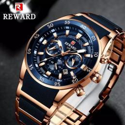 報酬メンズ腕時計トップブランドの高級クロノグラフシリコン鋼スポーツクォーツ時計防水男性時計レロジオ masculino_画像1