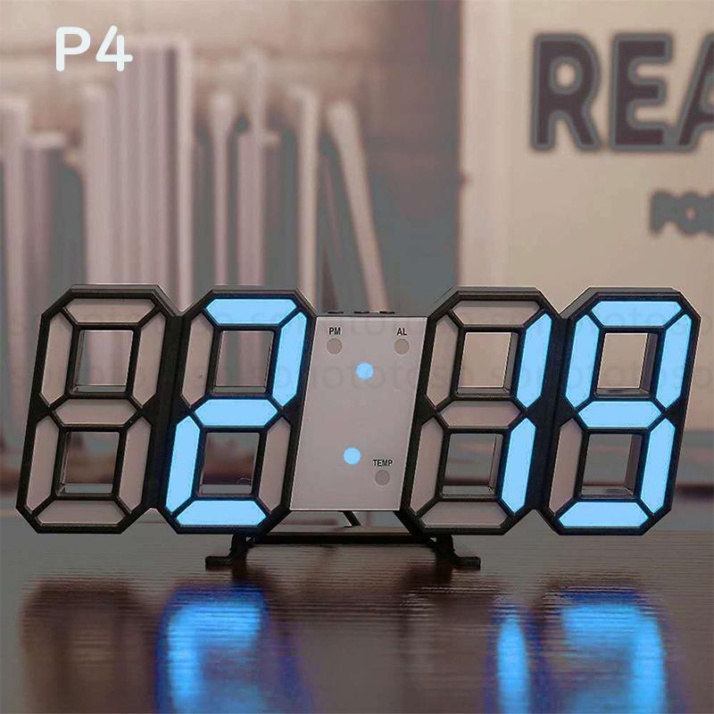 デジタル時計 3D LEDデジタル 時計 置き時計 壁掛け時計 目覚まし時計 ウォールクロック 自動感光 LED時計 日付 温度 USB電源 アラーム Z41_画像6