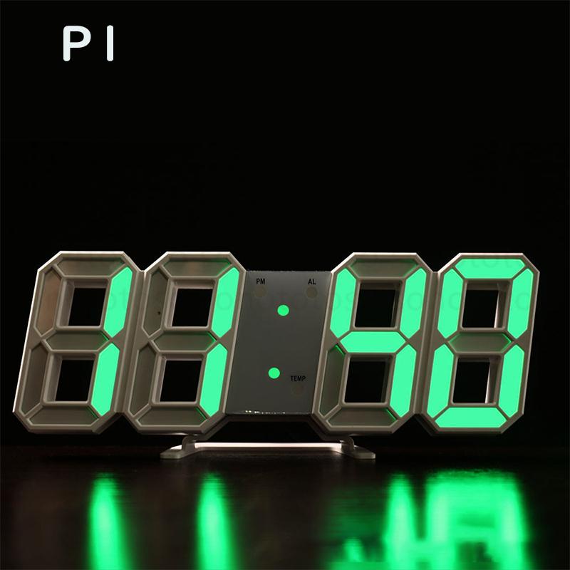 デジタル時計 3D LEDデジタル 時計 置き時計 壁掛け時計 目覚まし時計 ウォールクロック 自動感光 LED時計 日付 温度 USB電源 アラーム Z41_画像2