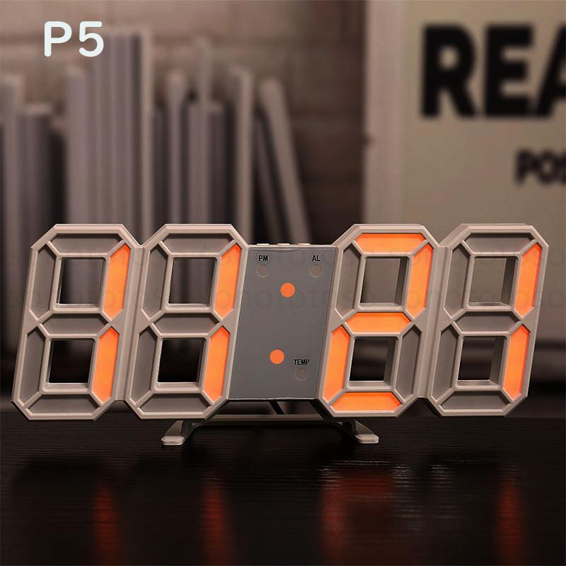 デジタル時計 3D LEDデジタル 時計 置き時計 壁掛け時計 目覚まし時計 ウォールクロック 自動感光 LED時計 日付 温度 USB電源 アラーム Z41_画像7