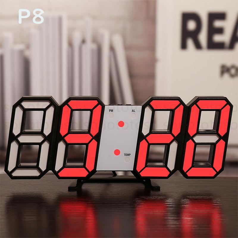 デジタル時計 3D LEDデジタル 時計 置き時計 壁掛け時計 目覚まし時計 ウォールクロック 自動感光 LED時計 日付 温度 USB電源 アラーム Z41_画像10