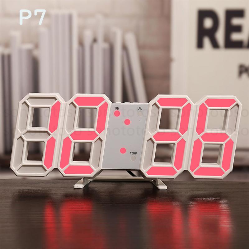 デジタル時計 3D LEDデジタル 時計 置き時計 壁掛け時計 目覚まし時計 ウォールクロック 自動感光 LED時計 日付 温度 USB電源 アラーム Z41_画像9