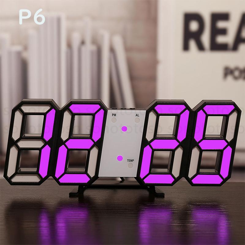 デジタル時計 3D LEDデジタル 時計 置き時計 壁掛け時計 目覚まし時計 ウォールクロック 自動感光 LED時計 日付 温度 USB電源 アラーム Z41_画像8