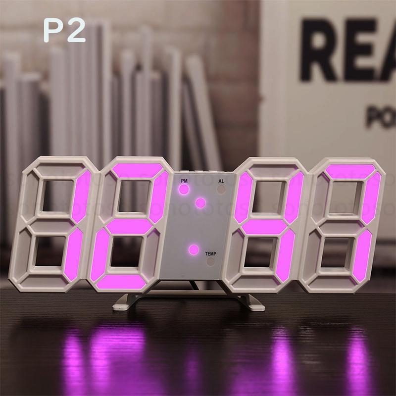 デジタル時計 3D LEDデジタル 時計 置き時計 壁掛け時計 目覚まし時計 ウォールクロック 自動感光 LED時計 日付 温度 USB電源 アラーム Z41_画像4