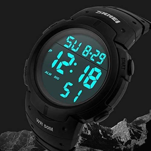 Timever(タイムエバー)メンズ デジタル腕時計 大きい文字 見やすい時計 スポーツウォッチ LED表示 アラーム ストップウォッチ多機能_画像2