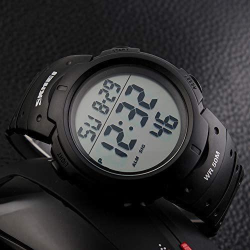 Timever(タイムエバー)メンズ デジタル腕時計 大きい文字 見やすい時計 スポーツウォッチ LED表示 アラーム ストップウォッチ多機能_画像3