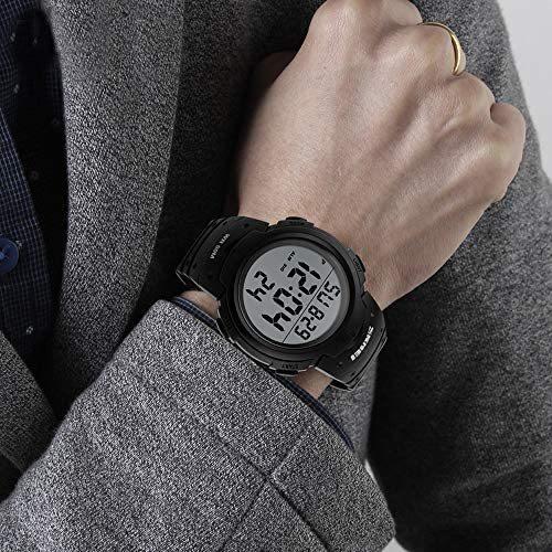 Timever(タイムエバー)メンズ デジタル腕時計 大きい文字 見やすい時計 スポーツウォッチ LED表示 アラーム ストップウォッチ多機能_画像6