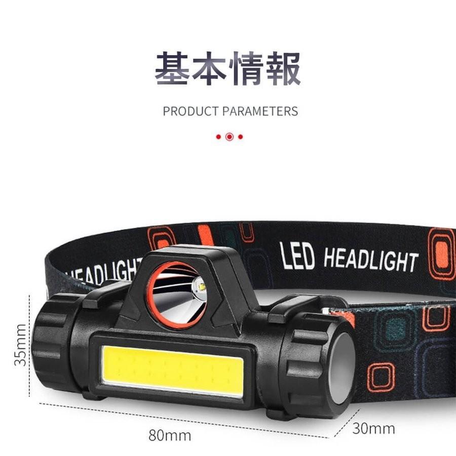 LED ヘッドライト USB 回転式 防水 アウトドア レジャー キャンプ