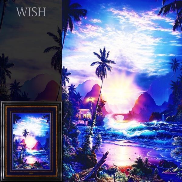 【真作】【WISH】ラッセン Christian Riese Lassen「ベコニング ライト」シルクスクリーン・手彩色 約30号 大作 直筆サイン   #21063695