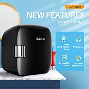 ブラック AstroAI 冷蔵庫 小型 ミニ冷蔵庫 小型冷蔵庫 車載冷蔵庫 冷温庫 9L 化粧品 小型でポータブル 家庭 車載 _画像6